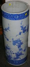 Japanese Blue and White Handpainted Porcelain Umbrella Stand