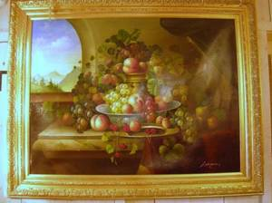 Large Framed Oil on Canvas Floral Still Life with Landscape