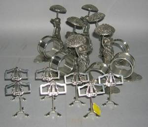 Set of Six Kate Greenaway Style Silver Plated Figural Napkin Rings and a Set of Seven Silver Plated Music Standform Placecard Ho