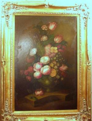 Framed Continental School Oil on Canvas Floral Still Life