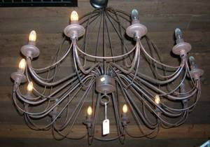 Provincialstyle Wrought Iron TwelveLight Chandelier