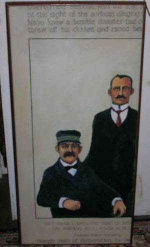 Modern Framed Oil on Canvas Portrait of Two Seamen