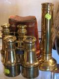 Reproduction 15th Century Table Globe Two Pairs of Brass Binoculars and a Lightmaster Torch
