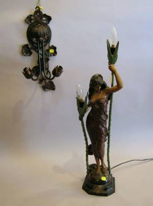 Modern Art Nouveau Style Patinated Cast Metal Figural TwoLight Table Lamp and a TwoLight Wall Sconce and a Small Patinate Metal Remi