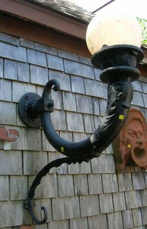 Large Pair of Victorian Black Painted Cast Iron Lamp Wall Sconces