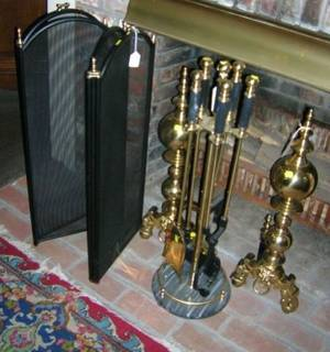 Pair of Georgianstyle Brass Andirons a Set of Five Tools on Stand and a Brass and Wire Fourpart Folding Fireplace Screen