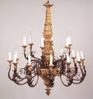 Large Continentalstyle Carved Wood and Painted Metal EighteenLight Chandelier