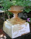 CE Walbridge Buffalo White Painted Cast Iron Garden Urn with Pedestal Base