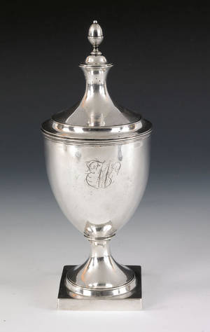 Philadelphia silver covered sugar urn ca 1800