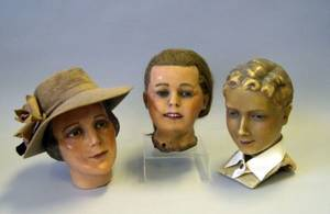 Three Poured Wax Mannequin Heads