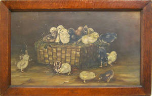 American oil on canvas of chicks in a basket