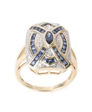 Ladies 14k Yellow Gold Sapphire  Diamond Ring