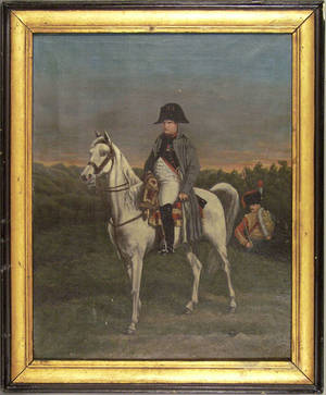 French oil on canvas portrait of Napoleon on horseback