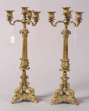 Pair of Louis XV Style Bronze Fourlight Candelabra