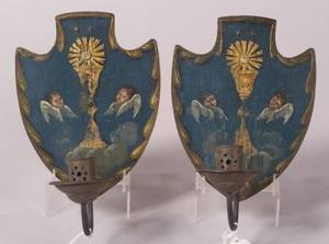 Pair of European Tole Candle Sconces