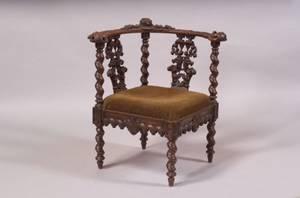 Italian Renaissance Revival Carved Walnut Corner Chair