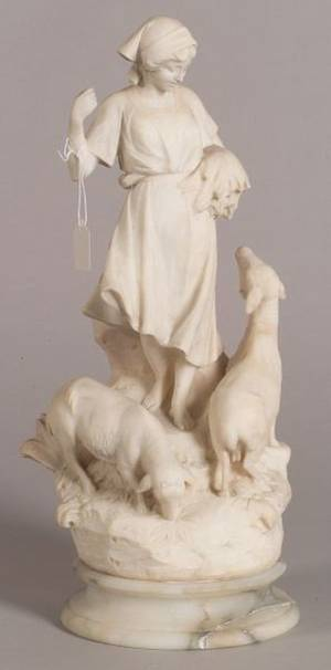 Continental Carved Alabaster Figure of a Shepherdess
