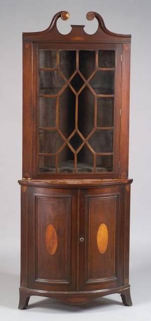 George IIIStyle Inlaid Mahogany Corner Cabinet