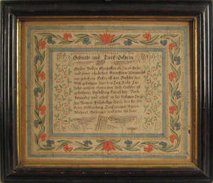 Berks County Pennsylvania ink and watercolor fraktur dated 1815