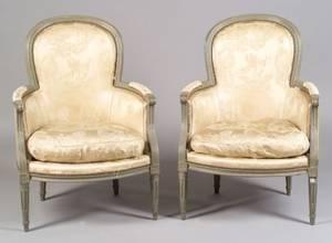 Louis XVI Style Painted Bergeres en Cabriolet