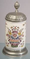 Polychrome Decorated Tin Glazed Earthenware Tankard