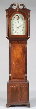 English Inlaid Mahogany and Brassmounted Tall Case Clock