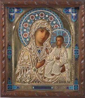 Russian Painted Icon of the Hodigitria Mother of God