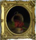 Reverse painting of raspberries