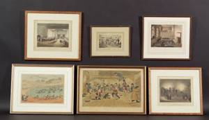 British School 19th Century Lot of Six Prints Various Artists and Subjects Including Interior Scenes b