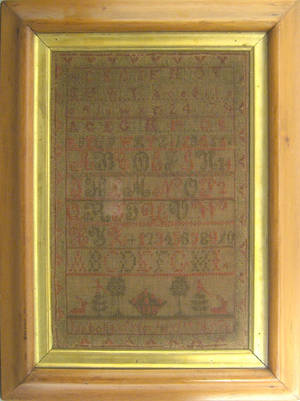 Silk on linen sampler dated 1857 and wrought by Isabella Tyler