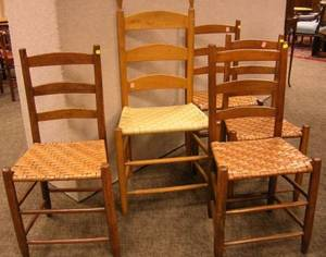 Set of Four Ladderback Side Chairs and a Shaker Ladderback Side Chair with Tilters