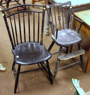 Black Painted Windsor Birdcage Side Chair and a Black Painted Childs Windsor High Chair
