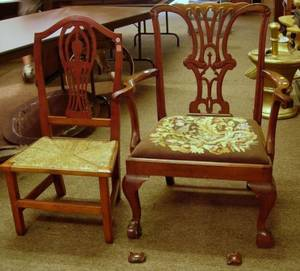 Country Chippendale Cherry Side Chair and Chippendalestyle Needlepoint Upholstered Armchair