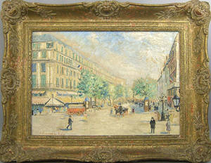 Oil on canvas Paris street scene