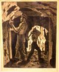 Framed Lithograph on Paper Miners at Work