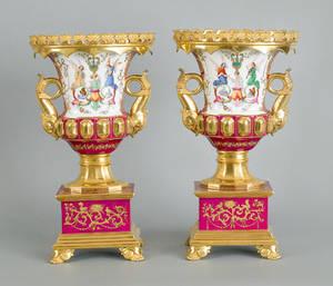 Pair of Paris porcelain urns ca 1830