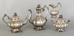 French four piece silver tea service ca 1840