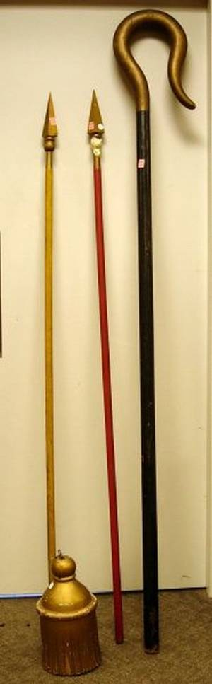Fraternal Gold Painted Carved Wooden Tassel a Painted Odd Fellows Staff and Two Carved and Painted Spears