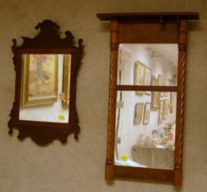 Small Chippendale Mahogany Mirror and a Country Classical Carved Mahogany Tabernacle Mirror
