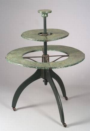 Ironmounted Faux Green Marble Painted Wood Rotating ThreeTier Plant Stand