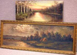 Lot of Two Framed and Unframed Oil on Board American School Landscapes