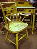 Yellow Painted and Stencil Decorated Dressing Table and Fancy Painted Armchair