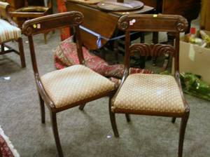 Pair of Classical Carved Mahogany Veneer Side Chairs