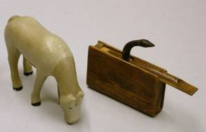 Folk Carved and Painted Wooden Book and Popup Snake Whimsey and a George Stokes Carved and Painted Wooden Horse Figure
