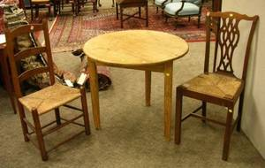 Provincial Pine Cricket Table a Ladderback Side Chair and a Chippendalestyle Mahogany Side Chair