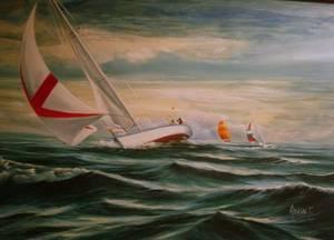 Framed Oil on Canvas Sailing Scene
