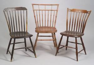 Two Painted Windsor Bambooturned Stepdown Side Chairs and a Birdcage Side Chair