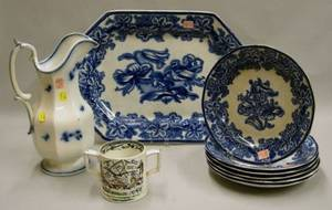 G Phillips Flow Blue Lobelia Pattern Ironstone Platter and Six Plates a Flow Blue Ironstone Pitcher and a St