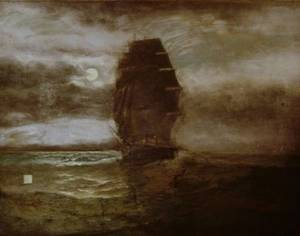 Unframed Oil on Canvas American School Painting of Clipper Ship
