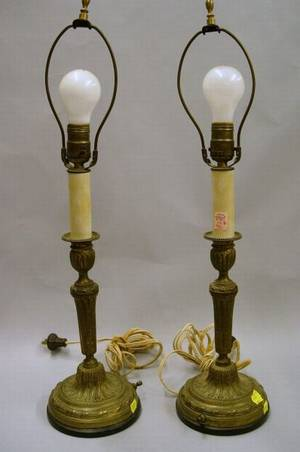 Pair of Louis XVI Style Giltmetal Candlestick Table Lamps